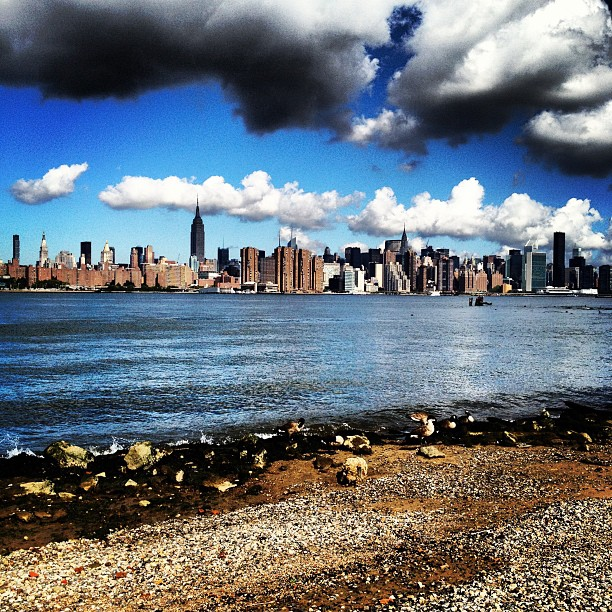 The Manhattan skyline seen from East River Park, Williamsburg, New York City