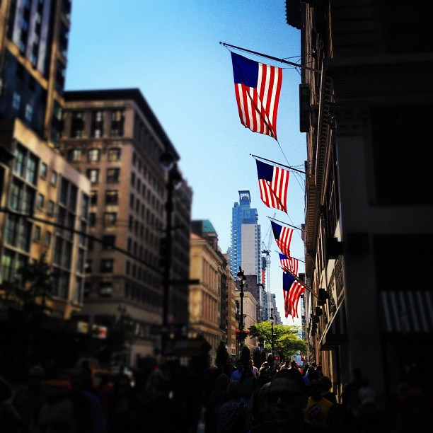 American flags flying on Fifth Avenue in New York City