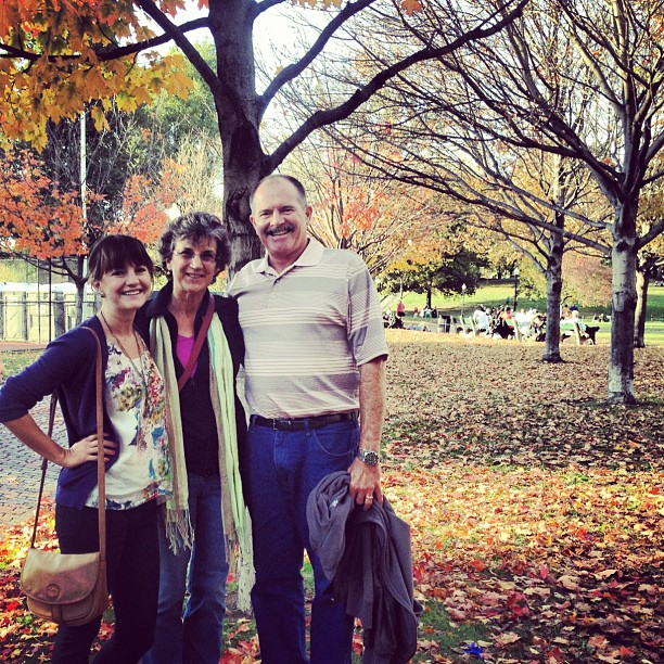 Christine Amorose and parents in Boston Common in a New England fall