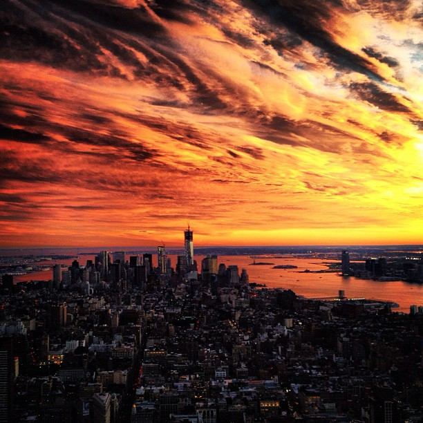 Epic New York City sunset from the Empire State Building, shot on Instagram