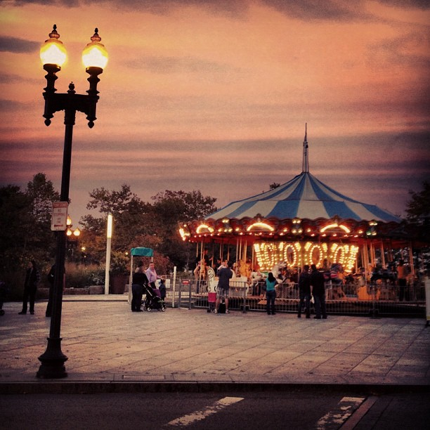 Carousel at dusk in Boston, New England