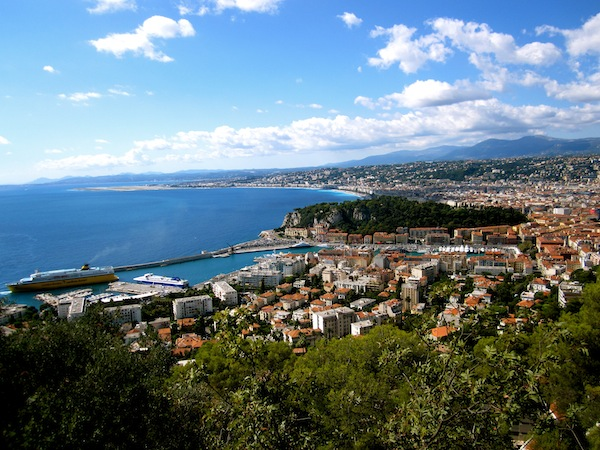 View of the Mediterranean from Fort du Mont Alban, Nice, France