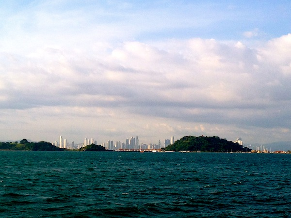 Panama City skyline from the Taboga Island ferry in Panama, South America