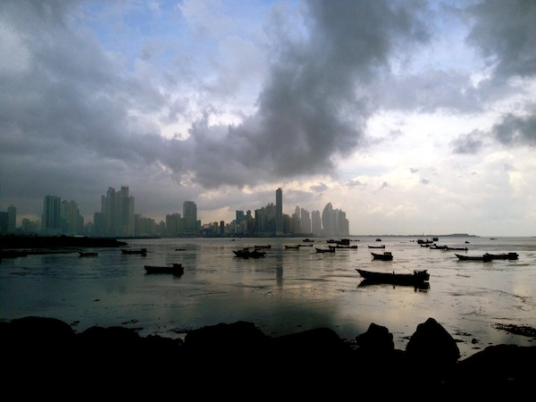 Panama City Skyline over the Pacific Ocean in South America