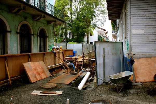 Construction in the streets of Panama City, Panama, South America