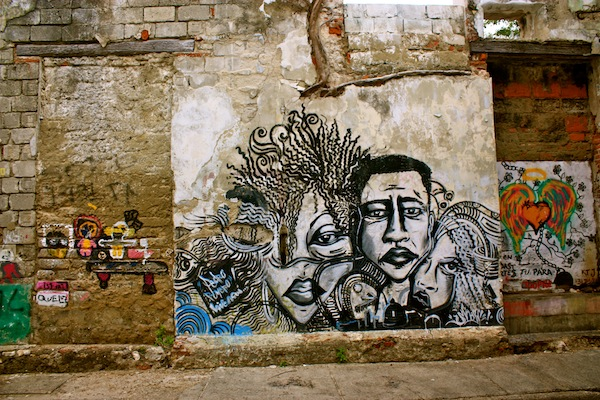 Graffiti art on the street in Cartagena, Colombia