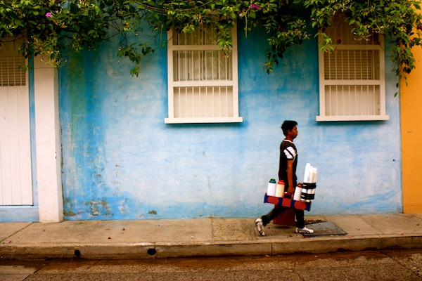 Man walking on the streets of Cartagena, Colombia, South America