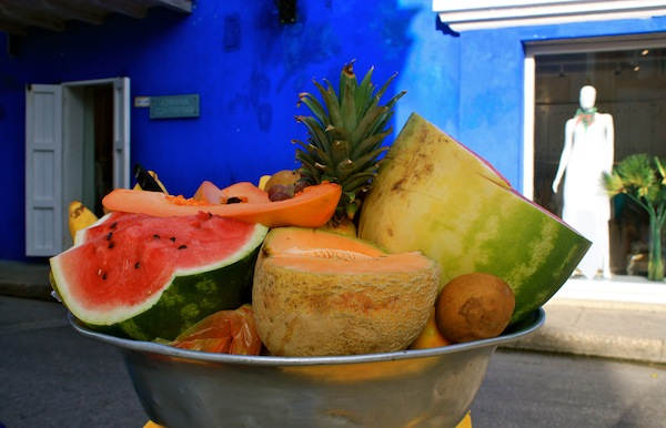 Tropical fruit bowl and blue walls in Cartagena, Colombia, South America