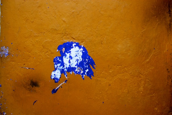 Paint splatter on the side of a building in Cartagena, Colombia