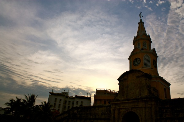 Skyline of Cartagena, Colombia at dusk