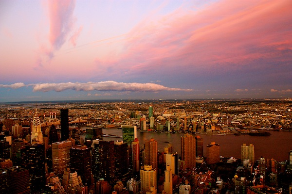 Epic New York City sunset from the Empire State Building