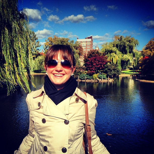 Christine Amorose on a beautiful fall day in the Boston Public Garden