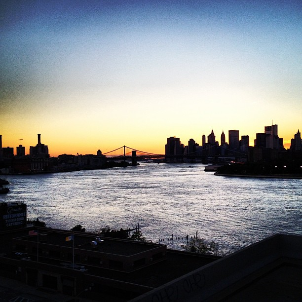 Manhattan skyline sunset from the Williamsburg Bridge, Brooklyn, New York City