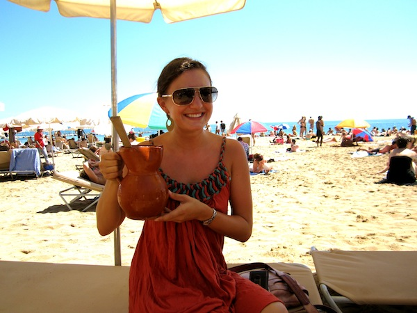 Christine Amorose with sangria in Barcelona in 2010