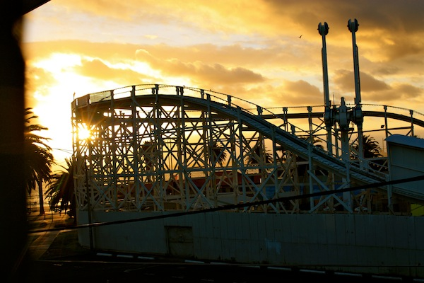View from my apartment window of Luna Park at sunset in St Kilda, Melbourne, Australia