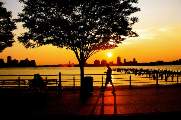Sunset over the Hudson River, New York City, USA