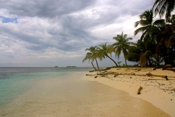 Palm trees on the San Blas Islands on a cloudy day in the Caribbean