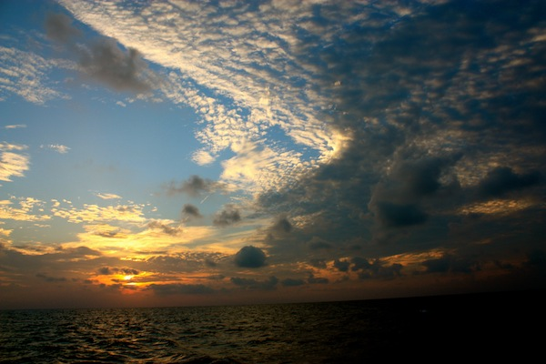 Sunset in the San Blas Islands in the Caribbean
