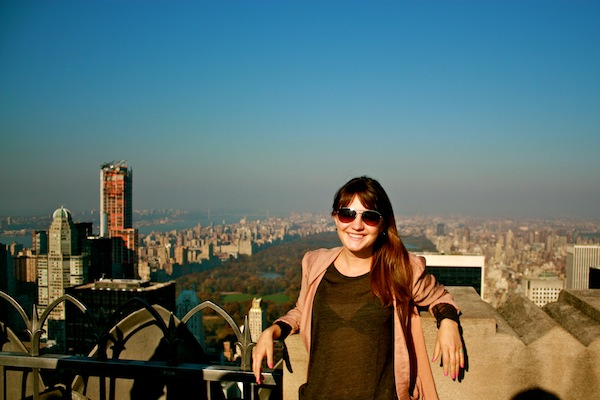 Christine Amorose at Top of the Rock at Rockefeller Center in New York City