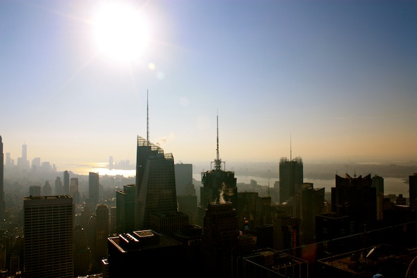 Sunny New York City skyline from the Top of the Rock at Rockefeller Center