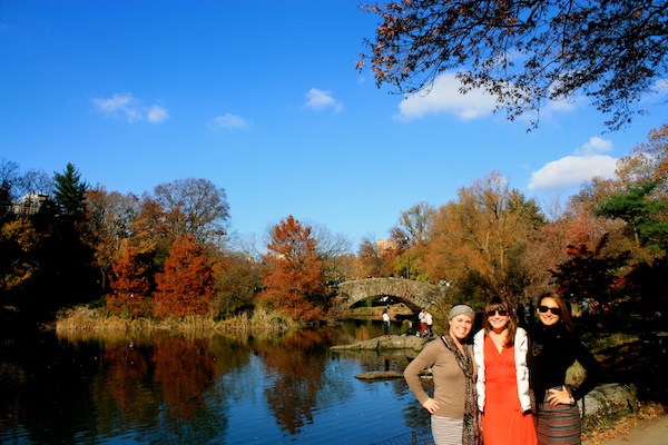 Christine Amorose and friends in Central Park, New York City on Thanksgiving