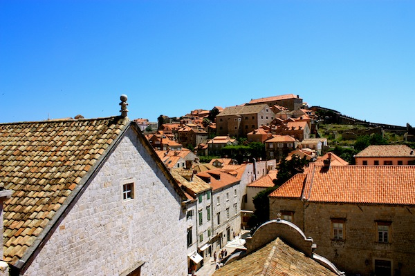 The walled city and red roofs of Dubrovnik, Croatia