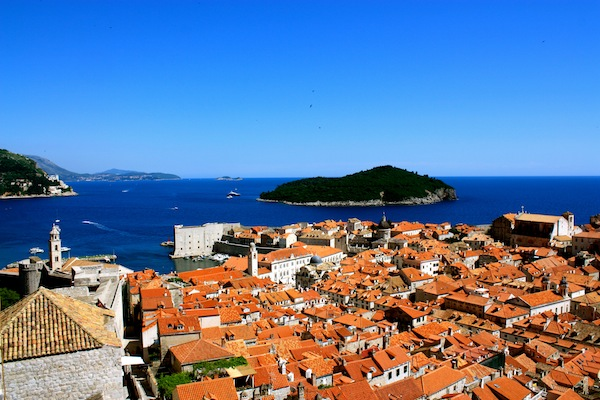 The walled city and red roofs of Dubrovnik, Croatia on the Adriatic Sea