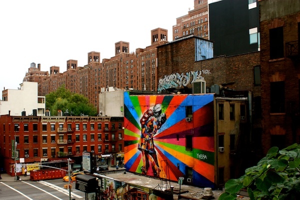 Mural by Brazilian artist Eduardo Kobra from the High Line, New York City