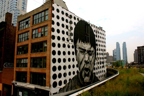 JR's tribute to the Lakota people on the High Line in Chelsea, New York City