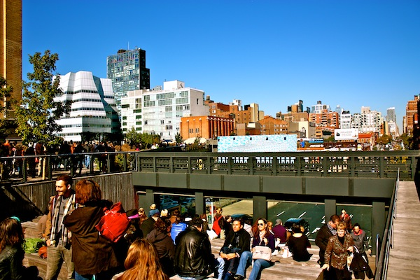 Looking down from the High Line in Chelsea, New York City