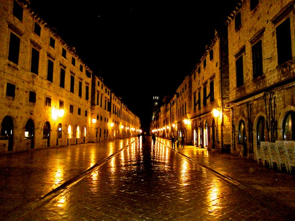 The walled city of Dubrovnik, Croatia in the middle of the night