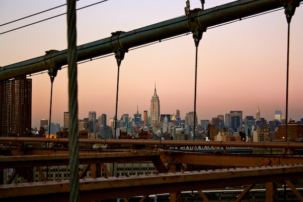 Manhattan skyline from the Brooklyn Bridge, New York City