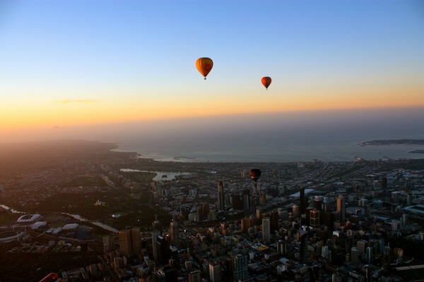 Hot-air balloon ride above Melbourne at sunrise