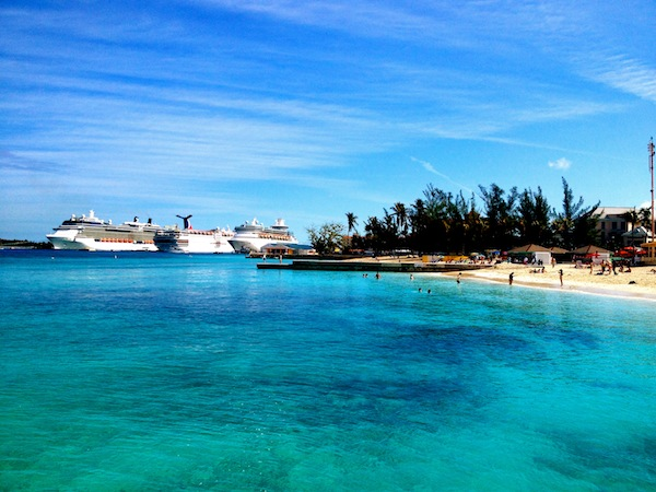 The clear turquoise water of the Caribbean at Nassau, the Bahamas