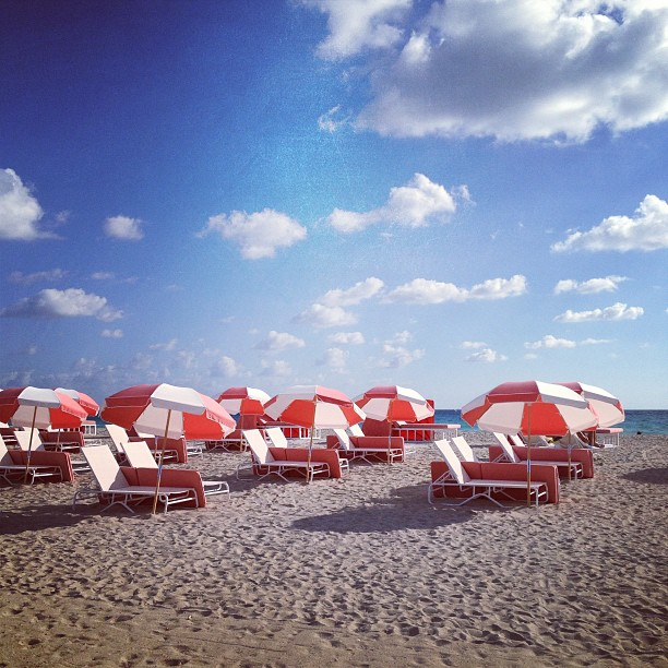 South Miami Beach umbrellas on a sunny day, Florida