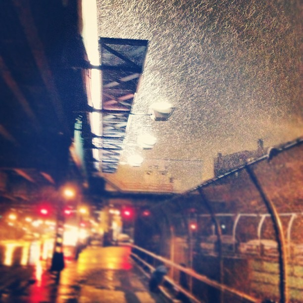 Snow at the Marcy stop on the JMZ subway line in Williamsburg, Brooklyn, New York City