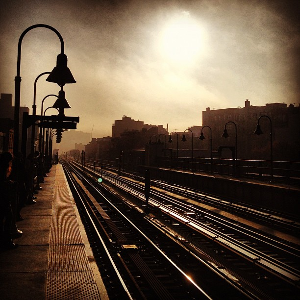 Sunrise from Marcy stop on the JMZ subway line in Williamsburg, Brooklyn, New York City