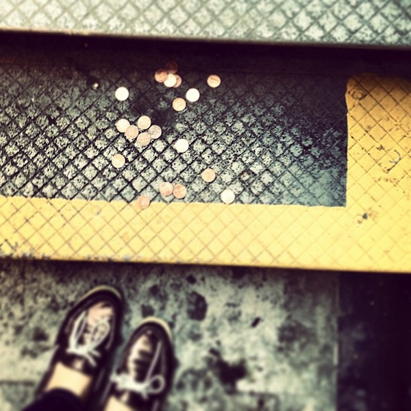 Lucky pennies on the ground in NYC