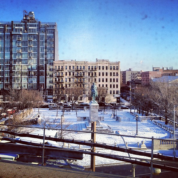 Snowy square from the JMZ subway line in Williamsburg, Brooklyn, New York City