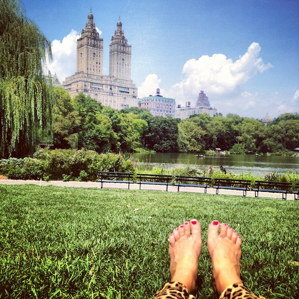 Leopard pants and pedicured toes in Central Park on a sunny day in New York City