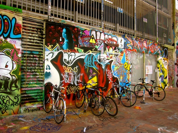 Bicycles and street graffiti art in Adelaide, South Australia