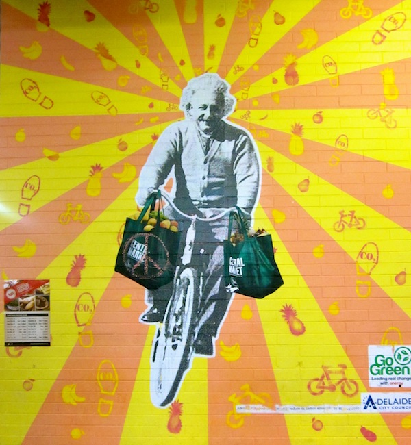 Albert Einstein bike mural in Adelaide, South Australia