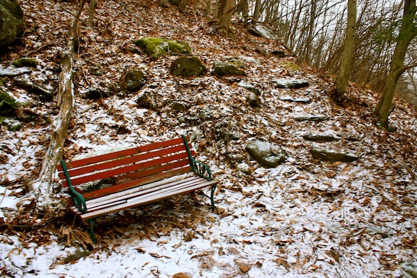 Snow-covered benches in the Berkshires, New York