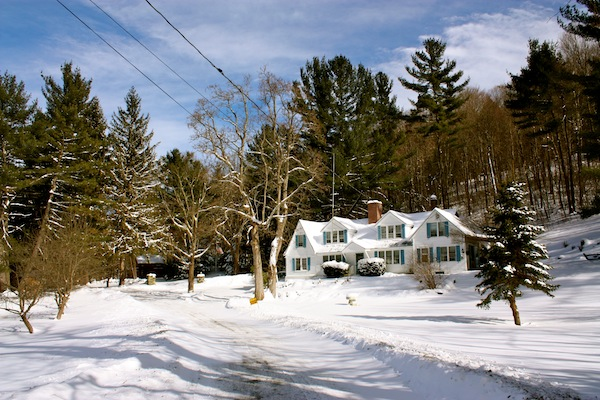 Snow-covered house in the Berkshires, New York