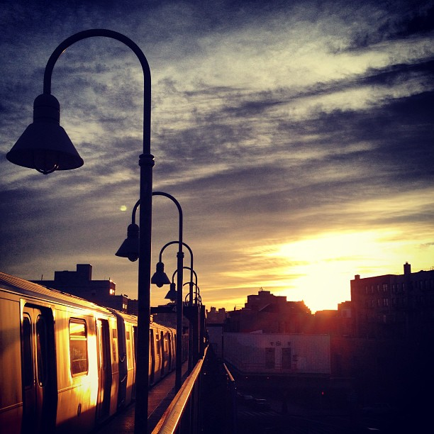 Sunrise from the Marcy stop on the JMZ subway line in Williamsburg, Brooklyn, New York City