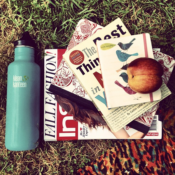 Journal and magazines in the sunshine