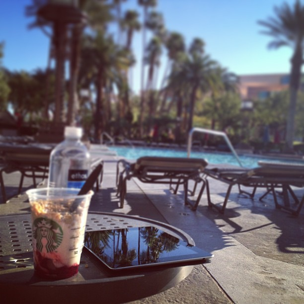 Morning breakfast and sunshine at the MGM Grand pool in Las Vegas