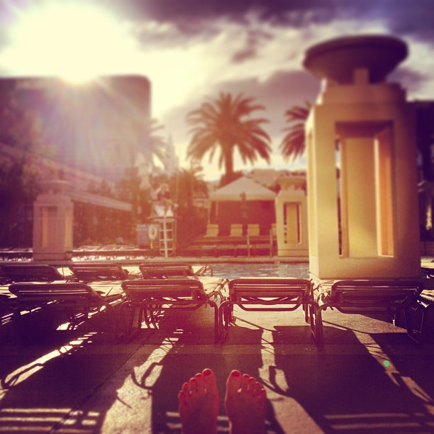 Afternoon sunshine at the MGM Grand pool in Las Vegas