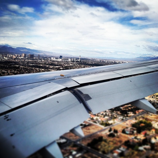 Flying into Las Vegas onto a beautiful day