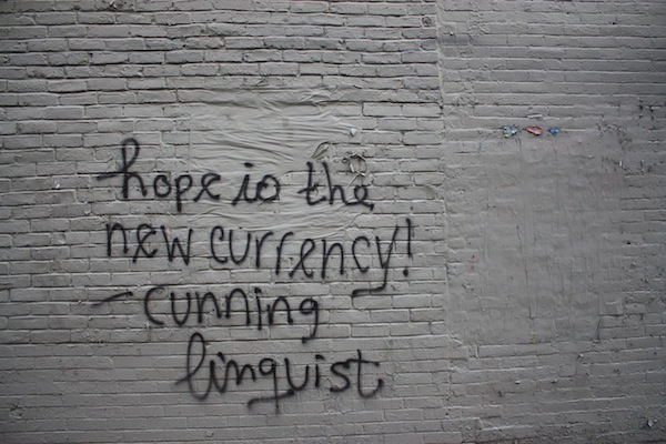 Street art by the cunning linguist in the Bowery neighborhood, New York City